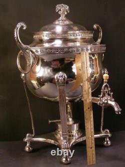 Big 1800 Sheffield Silver Samovar Tea Pot Hot Water Coffee Warmer Urn Server 19c