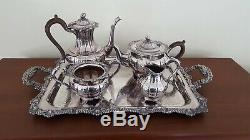 Birks Silver Gadroon & Shell Tray Tea Coffee Set Bakelite Handles Nut Finials