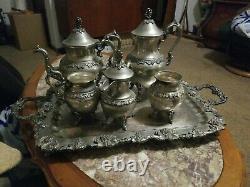 Birmingham Silver Co Silver On Copper 6 pc Tea/coffee set