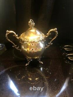 Birmingham Silver Co Silverplate 7pc Tea/Coffee Set Tilting Heated Teapot & Tray