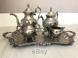 Birmingham Silver Company Coffee Tea Set vintage silver on copper
