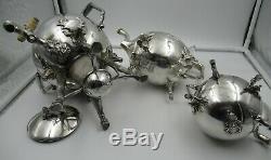 C1870 American Aesthetic Silverplate 3-Piece Coffee Tea Set/ Stag Heads & Sphinx