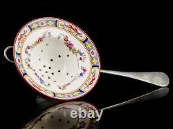 C1895 Minton's Tea Strainer with Wm Hutton Silver Plated Handle