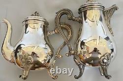 CHRISTOFLE silver plated Coffee Tea sugar creamer set 4 MARLY Louis XV France
