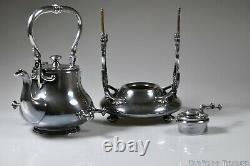 Ca. 1920s B. BOHRMANN Frankfurt German Silver Plate Gas Tea / Coffee Pot Warmer