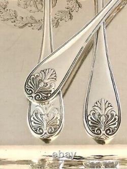 Christofle Antique Empire Malmaison Silverplated Tea/coffee Spoons Set Of 6 Pcs
