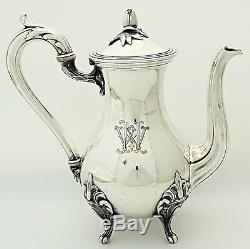 Christofle Antique French Silver Tea Coffee Pot Service Rococo Louis XV Monogram