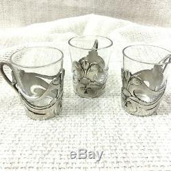 Christofle Art Nouveau Silver Plated Small Tea Turkish Coffee Glasses Cups Set