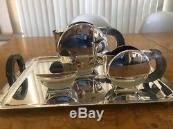 Christofle France Art Deco Christian Fjerdingstad Silver Plated Tea Pot Tray Set