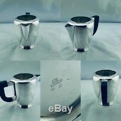 Christofle France Art Deco Luc Lanel Silver Plated Tea Coffre Pot Tray Set 1930