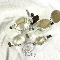 Christofle French Art Deco Silver Plated Tea Coffee Set Teapot Geometric Bauhaus