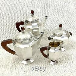 Christofle French Art Deco Silver Plated Tea Set Teapot Coffee Pot Bauhaus