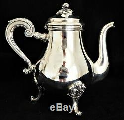 Christofle MARLY Tea Set Teapot Coffee Pot Sugar Creamer French Silver Plate