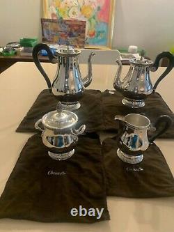 Christofle Malmaison Coffee, Tea, Creamer & Sugar Set
