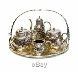 Christofle Orfevre French 950 Silver & Mixed Metal Japonism Tea Set c1880