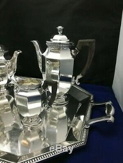 Christofle Silverplate Tea Set Gallia Pattern with Matching Tray Please Read Desc