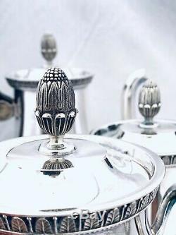 Christofle Splendid Tea and Coffee Set Malmaison Pattern 4 pieces