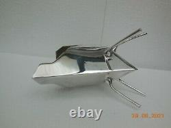 Christopher Dresser Style Art Deco Silver-Plated Tea Pot Long Legs Triangle