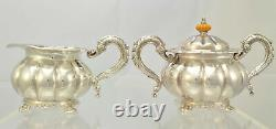Continental Sheffield Melon Form Five Piece Silverplate Tea Set with Tray
