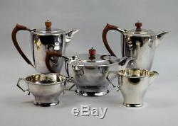 ENGLISH ART DECO SILVER PLATE FIVE PIECE TEA AND COFFEE SET 1930's