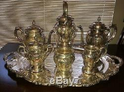 E. G. WEBSTER & SON SILVERPLATE TEA & COFFEE SERVICE with KETTLE 8 PIECES