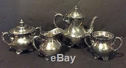 E G Webster Spiderweb Silverplate 4 Piece Tea Service Circa 1900s
