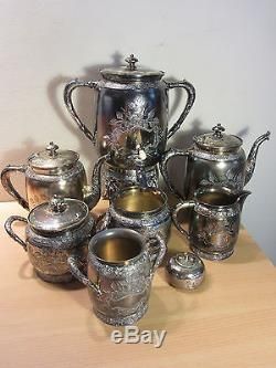 Eastlake Victorian 1880s Large Quadruple Silver Plate 10pc Tea Service Set #3030