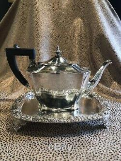Edwardian Sterling Silver. 925 Bachelor Tea Pot with Silver Plate Tray Hallmarked