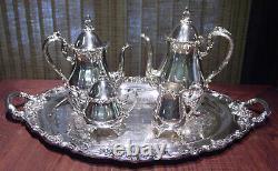 El Greco By Reed & Barton Silverplate 5 Piece Tea & Coffee Set Including Tray
