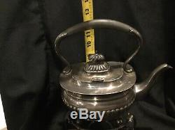 Electro Plated Nickel Silver Vintage Six Piece Ribbed Metal Tea/ Coffee Set. B2