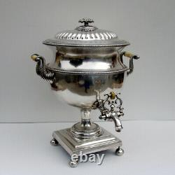 English Hot Water Tea Urn Blossom Finial Old Sheffield Plate 1810