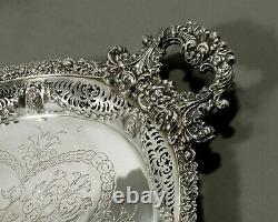 English Silver Tea Set Tray Lion Masks