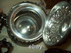 Excellent Antique Ornate Derby Silver Co 5 Piece Tea Set Quadruple Plate 1892