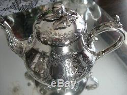 Exquisite Antique Quality James Dixon Silver Plate 4 Piece Coffee Tea Set