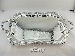 FB ROGERS SILVER FOOTED COFFEE & TEA SET + SILVER FOOTED BUTLER TRAY 5pc BEAUTY