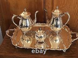 FB Rogers Silver Plate Co 4 Piece Coffee & Tea Set with Sugar & Large 25 Tray