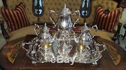 FB Rogers Silverplate Set 7pc Tea Coffee Pot Service 28.5 Tray Samovar POLISHED