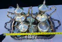 F. B. Rogers Co. 1883 Silver Plated 5 Piece Coffee & Tea Service Set Silverplate