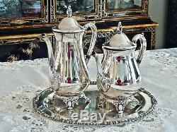 Fabulous Vintage Silver Plated Coffee & Tea Pot On Silver Plated Tray Viners