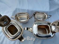 Famous ELKINGTON art deco quality silver plate tea coffee set 4 piece unworn