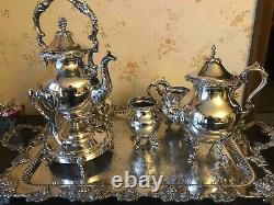 Five piece antique silver plated tea set, almost perfect condition