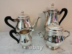 GALLIA / CHRISTOFLE silver plated Coffee Tea sugar creamer set 4 pcs FRANCE