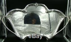 GERMANY WMF Art Nouveau IVY Silver Plated Coffee and Tea Service TWO LARGE TRAY
