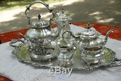 GORHAM ROSEWOOD PATTERN COFFEE /TEA SILVER PLATED 1940's 7PC SET