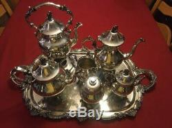 Goldfeder Silverplate Art Deco Tea Set 1932-1957 Six Pieces and Large Tray