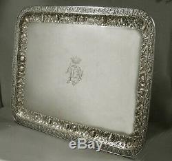 Gorham Silver Tea Tray 1890 FAMILY CREST