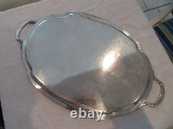 Grand plateau à thé métal argenté Louis XVI godrons silverplate Tea tray v69