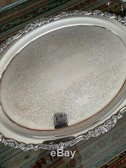 Grande Baroque by Wallace Silverplate Tea Set 4 Pc. With Tray