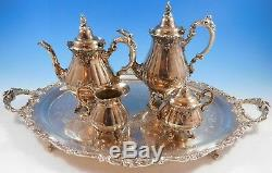 Grande Baroque by Wallace Silverplate Tea Set 4pc with Tray (#2269)