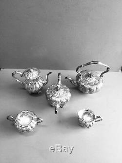 Hand Chase English Silver Plated Embossed Floral& Pumpkin Pattern 5 Pices Tea